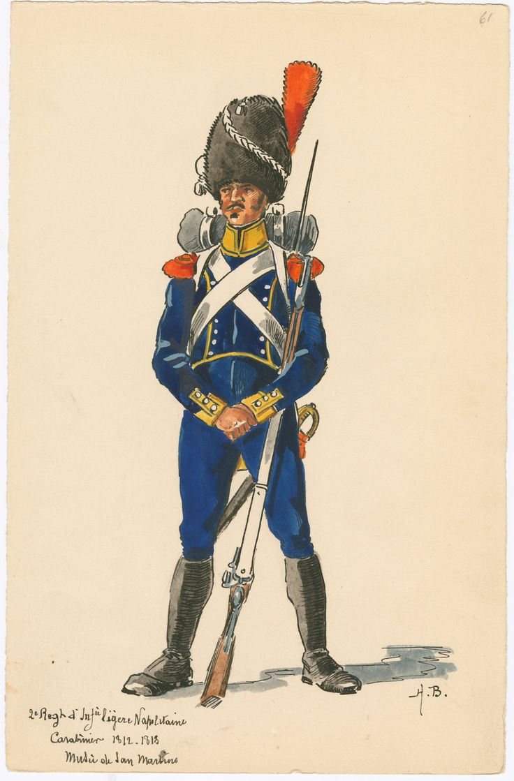 Kingdom of Naples; 2nd Regt Light Infantry, Carabiner 1812-13 by H.Boisselier.