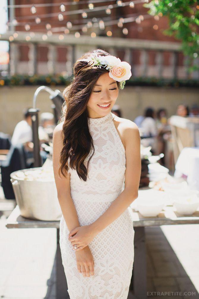 Garden party / bridal shower brunch. In white lace dress + flower crown