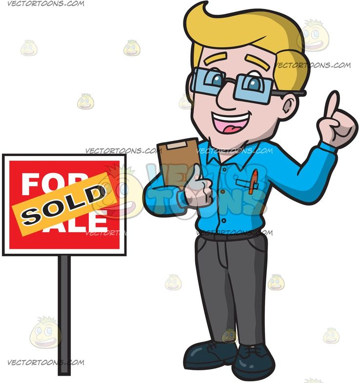 A Male Real Estate Agent Happily Completes The Sale Of A House:   A man with blonde hair wearing a pair of eyeglasses sky blue dress shirt with a red pen in the chest pocket gray pants dark blue shoes smiles while holding a clipboard in his right hand his left index finger raised as he stands beside a red for sale sign that has an orange sold sticker plastered on it
