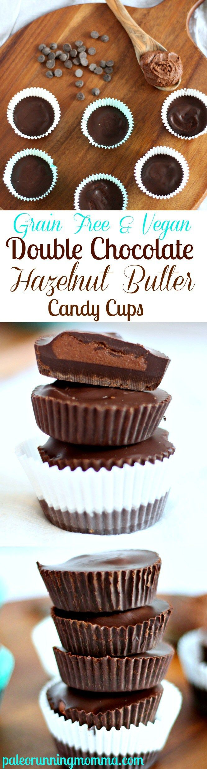 Rich and Creamy but healthy and quick dessert - Double Chocolate Hazelnut Butter Cups - Vegan and grain free with a  paleo option!