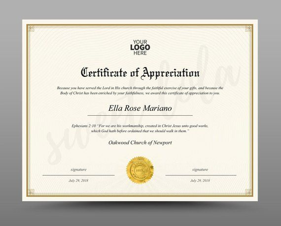 certificate template  instant download  diploma template