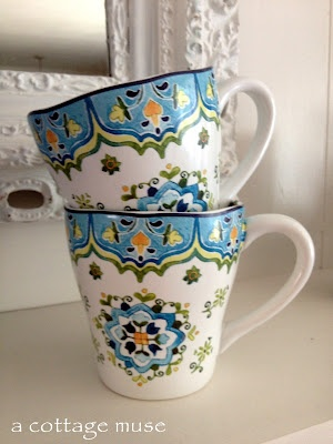 A Cottage Muse: enjoying summer...  such cute coffee cups from Pier One