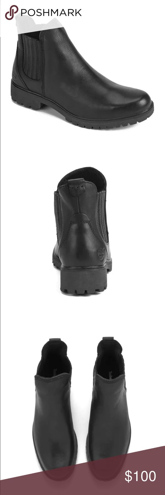 TIMBERLAND Lyonsdale Chelsea Boot, Black Leather Size: US 7 Women's; excellent, almost brand new condition Leather Chelsea boots! Timberland is known for being sturdy, tough, reliable for walking. Rubber gore sole, genuine leather upper! Worn once or twice, but my feet are wide so they're not for me! Please send me reasonable offers :) only slight creasing around the toe cap from wearing a few times. Can be fixed with Leather care products! Timberland Shoes Ankle Boots & Booties