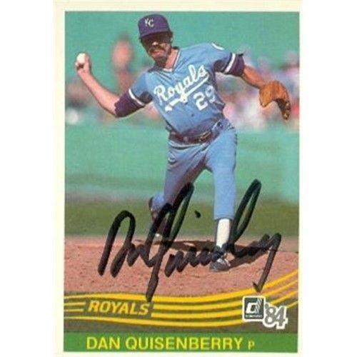 Autograph Warehouse 97779 Dan Quisenberry Autographed Baseball Card Kansas City Royals 1984 Donruss No 583 Kansas City Royals Royals Baseball Baseball Cards