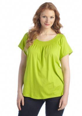 Kim Rogers  Plus Size Smock Flutter Sleeve Top