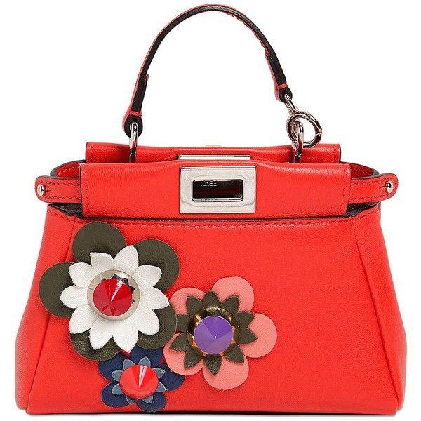 FENDI Micro Peekaboo Flower Appliqués Bag ($1,650) ❤ liked on Polyvore featuring bags, handbags, shoulder bags, red shoulder bag, fendi purses, pocket purse, red handbags and fendi