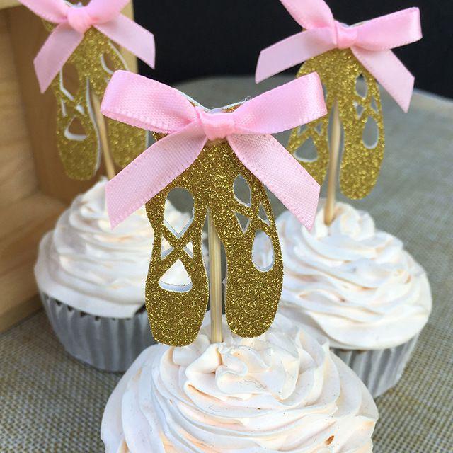 Arco personalizado Cor & Gold/Silver Glitter Sapatos de Ballet Cupcake Toppers Picks Meninas Decorações Crianças Festa de Aniversário Do Chuveiro de Bebê Favos