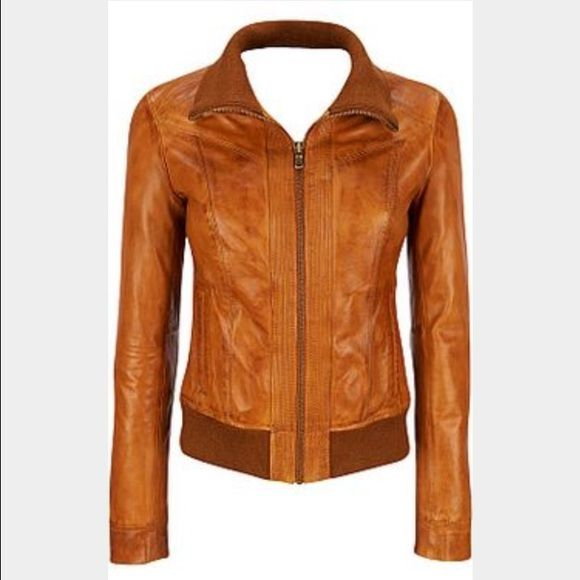 womens brown leather bomber jacket gorgeous caramel brown colored genuine leather bomber style jacket by black rivet - sold at wilsons leather. size large. Wilsons Leather Jackets & Coats