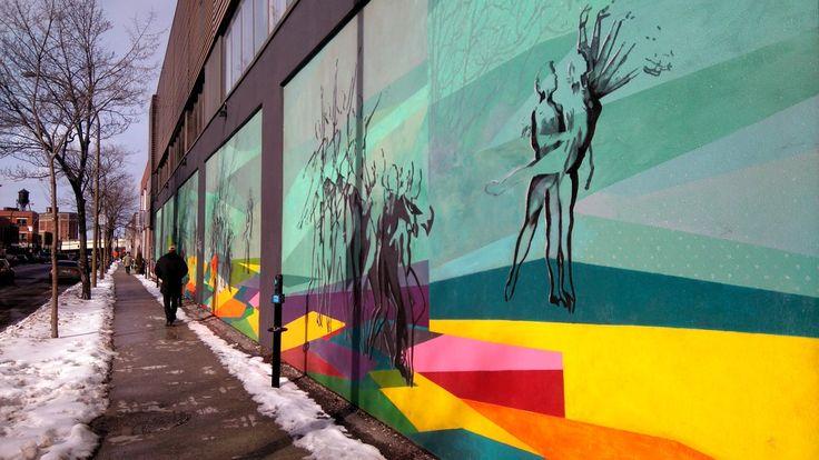 Freque murale sur le Boulevard Saint Laurent, Montréal