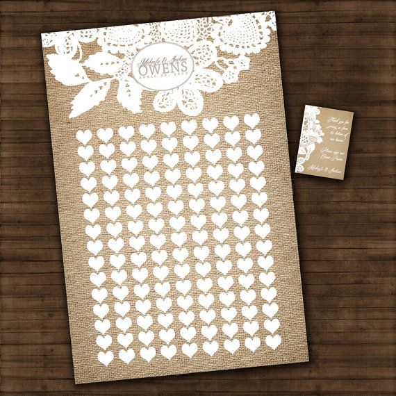 """Burlap and Lace - Wedding Guest Book Signature Art Print - Signature Hearts - Guest Book Art Print -24"""" x 36"""" - Up to 250 guests"""