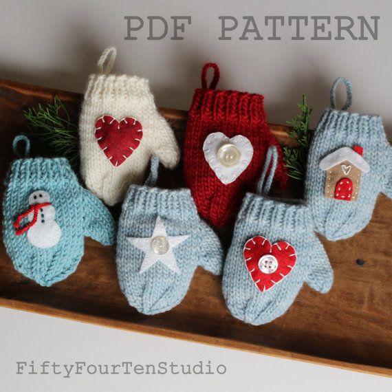 Cute mitten Christmas ornament knitting pattern with felt applique designs by FiftyFourTenStudio