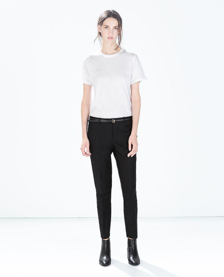 PANTALON TISSU DOUBLE ÉPAISSEUR AVEC CEINTURE - Pantalons - Femme - COLLECTION SS15 | ZARA France
