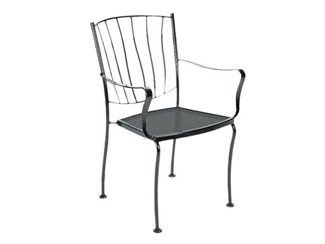 Woodard Aurora Wrought Iron Dining Arm Chair Stackable 5L0001: LuxePatio.com, 22.4W x 23.9D x 33.8H inches - $146.25