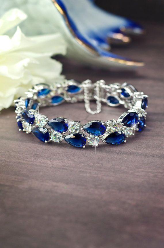 sapphire blue cubic zirconia bracelet bridal bracelet by MarinaUA