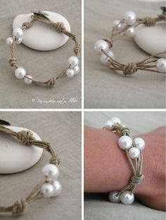 Bracelet lin & perles