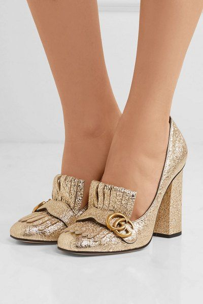 0a7c14527ae Gucci marmont fringed logo-embellished metallic cracked-leather pumps.   gucci  nudeshoes  pumps  heels