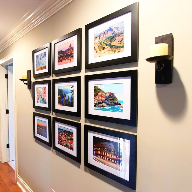 This is exactly what we did (3x4 large espresso box frames) Displaying Favorite Travel Photos on a Gallery Wall