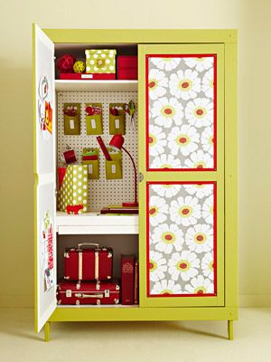 If you can't have a craft room perhaps you can have a craft closet. Cute idea!