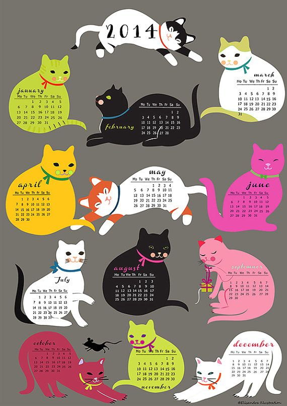Cats Calender 2014downloadable and self printable by sevenstar, $9.00