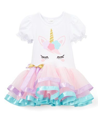 f392e306d Look what I found on  zulily! Light Pink   White Unicorn Dress ...