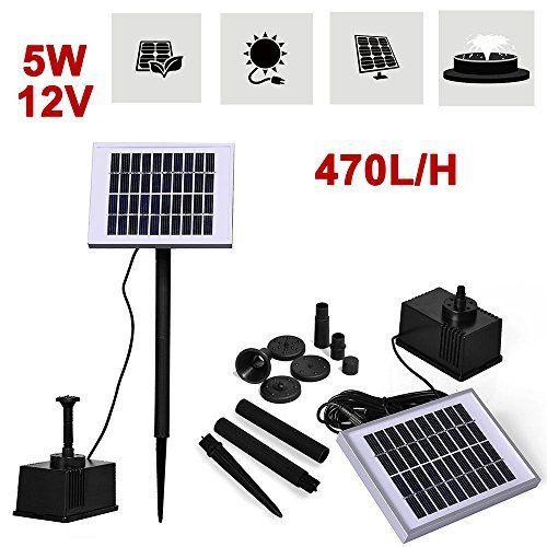 Pompe à eau solaire 5W 12V (Haute Puissance) pour jardin, fontaine/cascade pour bassin d'agrément extérieur biosphère, hauteur jet d'eau…