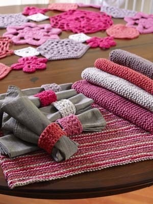 Knit Placemats and Crochet Napkin Rings on Lion Brand at http://www.lionbrand.com/patterns/60669A.html?r=1