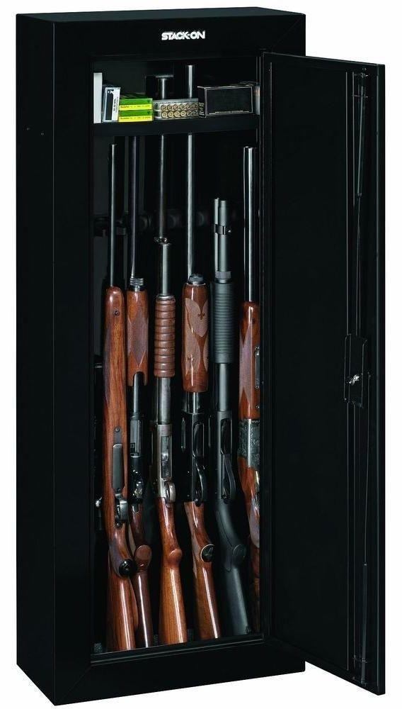 8 Rifle Storage Case Gun Cabinet Safe Key Security Lock