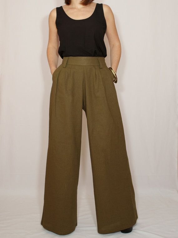 Wide leg linen pants Army green pants with pockets by dresslike