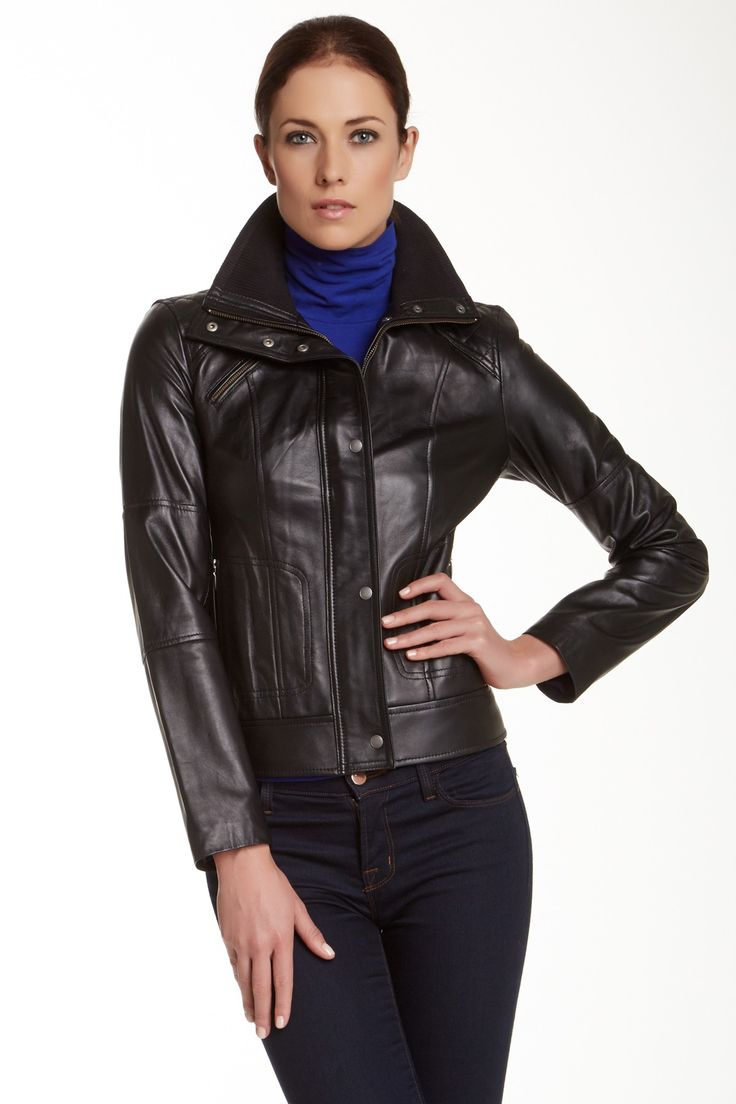 Leather jacket nordstrom rack - Cole Haan Lamb Leather Bomber Jacket