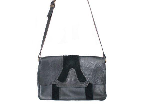 80s vintage black petrolgreen shoulder bag by Heddyhoo on Etsy