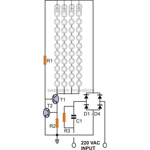 The Given Circuit Of A Current Controlled Led Tube Light Uses A Couple Of High Voltage Transistors Which Works On A V Led Tube Light Led Tubes Led Light Design