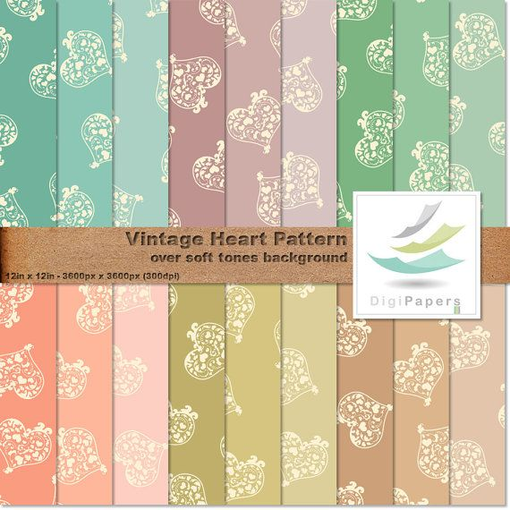 Vintage Heart Pattern by DigiPapers