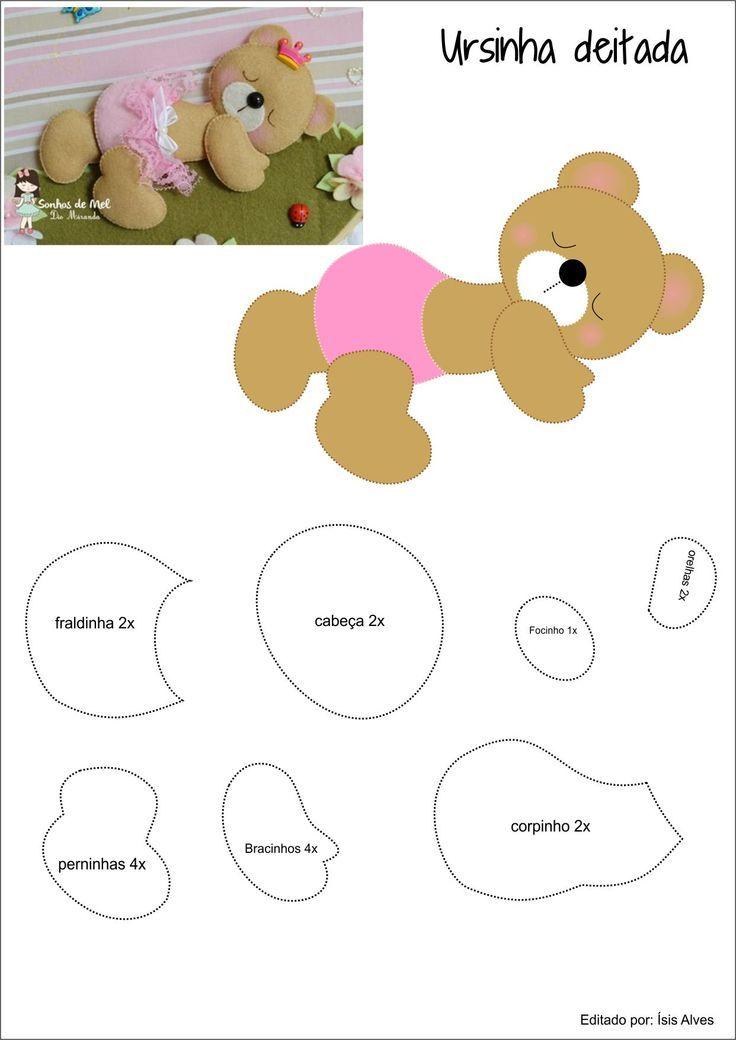 Ursinha de Feltro; teddy felt; ursinha deitada de feltro: