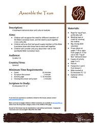 4. Assemble the Team - A team contest and cultural modules. Helps kids recognize the need for different members of the Bible translation team, and the need to work together cross-culturally. - See more at: http://www.wycliffe.ca/wycliffe/resources/educational_resource.jsp?rid=64#sthash.EKKpT1Fh.dpuf