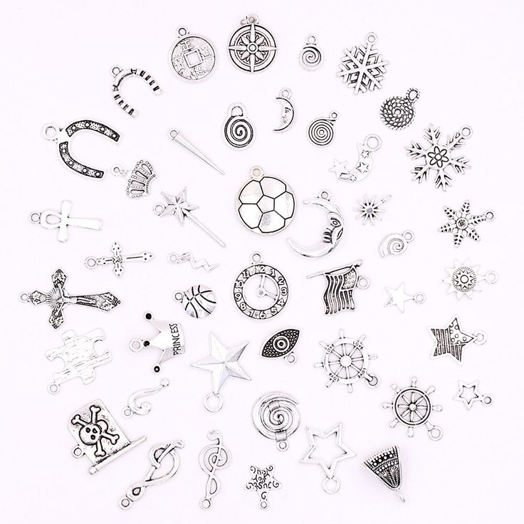 All Tibetan Silver Stars Moon Snow Crosses Charms for