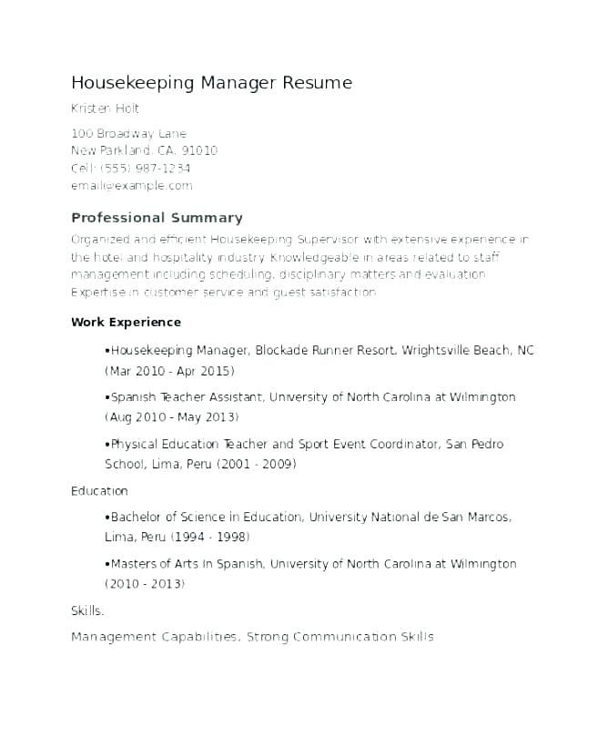 Resume Examples Housekeeping Supervisor Samples Sample Hotel Room Attendant
