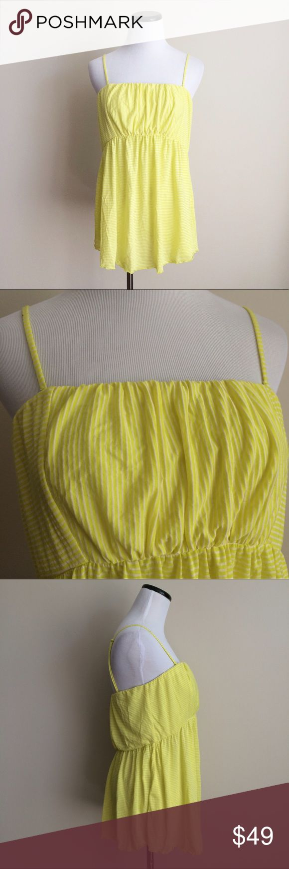"FREE PEOPLE Neon yellow striped Tank Top strapless Neon yellow and white striped Tank Top with removable straps to become a Strapless Top. Flowy fit. Size large. Adjustable straps. Soft modal and polyester. Length 21.5"", not including straps. Chest 16"" before stretched. Thick band at top to hold you up. Free People Tops Tank Tops"