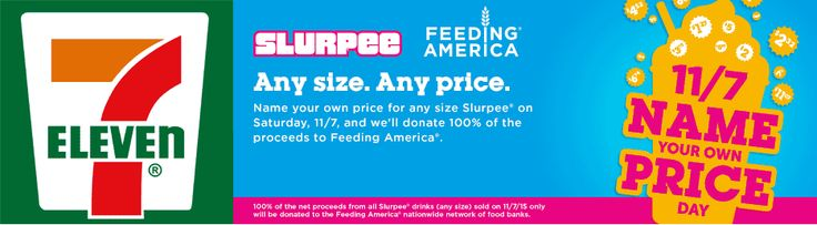 Pinned November 5th: Choose your own price on a #Slurpee for charity Saturday at 7-Eleven #coupon via The #Coupons App