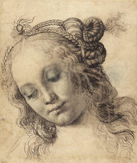 Andrea del Verrocchio (Firenze, 1435 - Venezia, 1488), Recto: Testa di donna, 1475 ca., Carboncino, biacca, penna e inchiostro