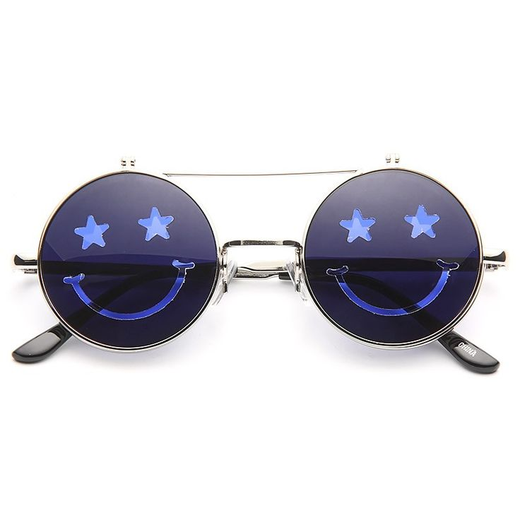 Cheap Novelty Sunglasses   Smiley Unisex Flip-Up Round Color Tint Sunglasses   BleuDame.com