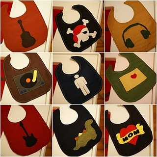 awesome bibs hope my girlfriend teresa sees these she makes stuff like this! These would be cute for when she has a baby !