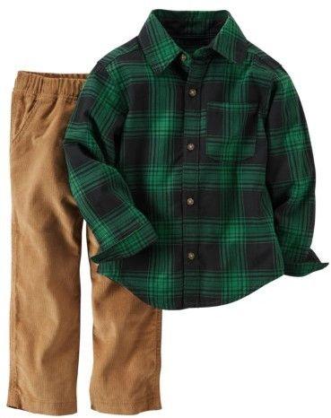 Carter's Infant Boys 2-Piece Green Plaid Shirt & Brown Corduroy Pant Set 3m