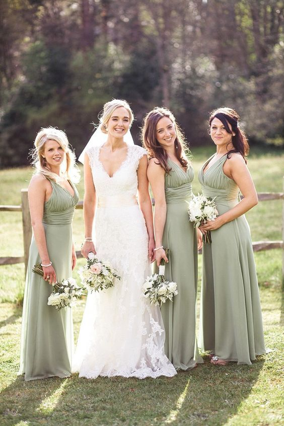 V-neckline Sage Green Bridesmaid Dresses                                                                                                                                                                                 More