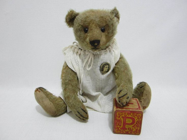 "STEIFF Antique Teddy Bear 12"" Named Pax Dressed w Pinback Woman Portrait #AllOccasion"