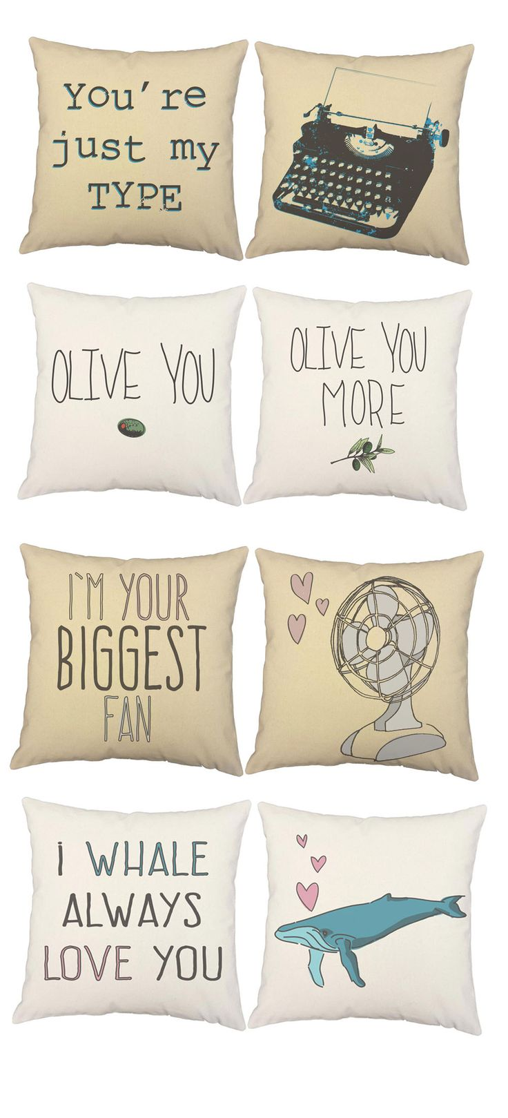 Love Inspired Throw Pillows Romantic Puns Valentines