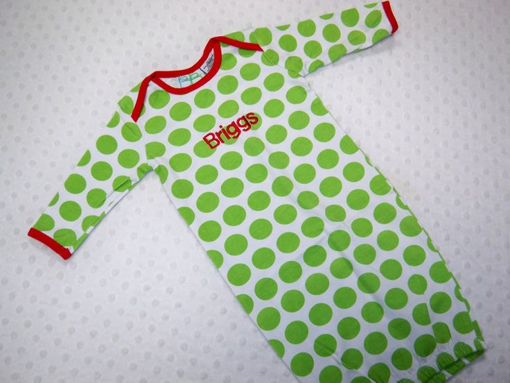 Christmas PERSONALIZED 0-3 Months Gown Baby Christmas Pajamas Girls Boy Red Green Polka Dot Christmas Newborn Infant Monogrammed Name PJs by grinsandgigglesbaby1 on Etsy https://www.etsy.com/listing/213723075/christmas-personalized-0-3-months-gown