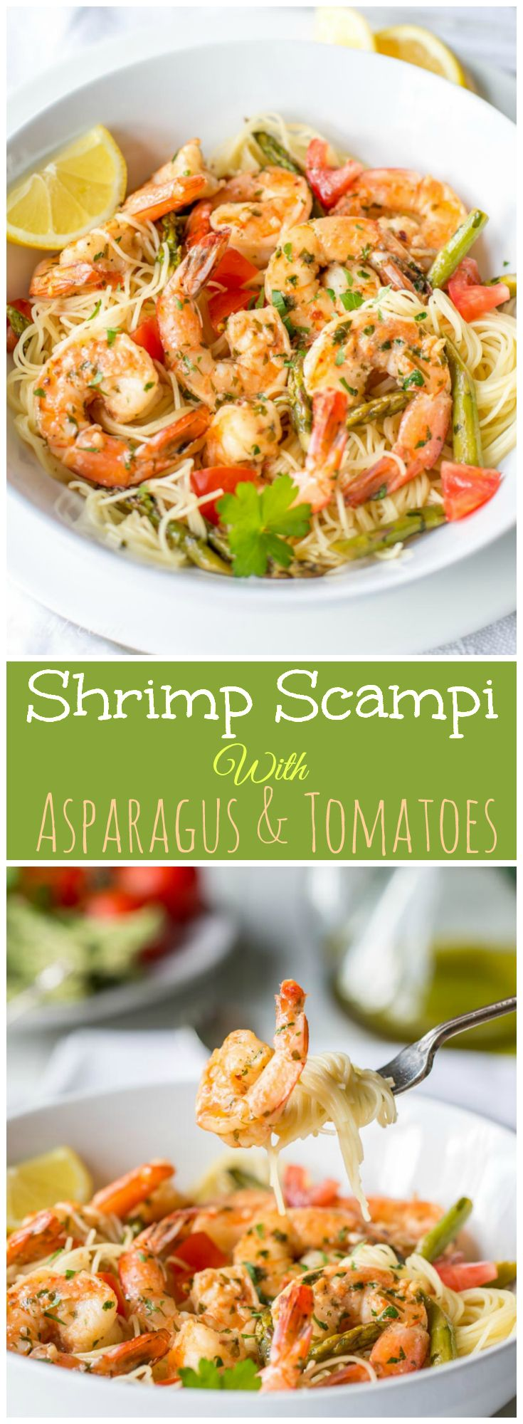 Shrimp Scampi with Asparagus & Tomatoes | You don't need a fancy Italian restaurant to enjoy a great bowl of Shrimp Scampi. Our homemade adaptation makes it easy to bring vegetables to the table along with the shrimp. @savingdessert