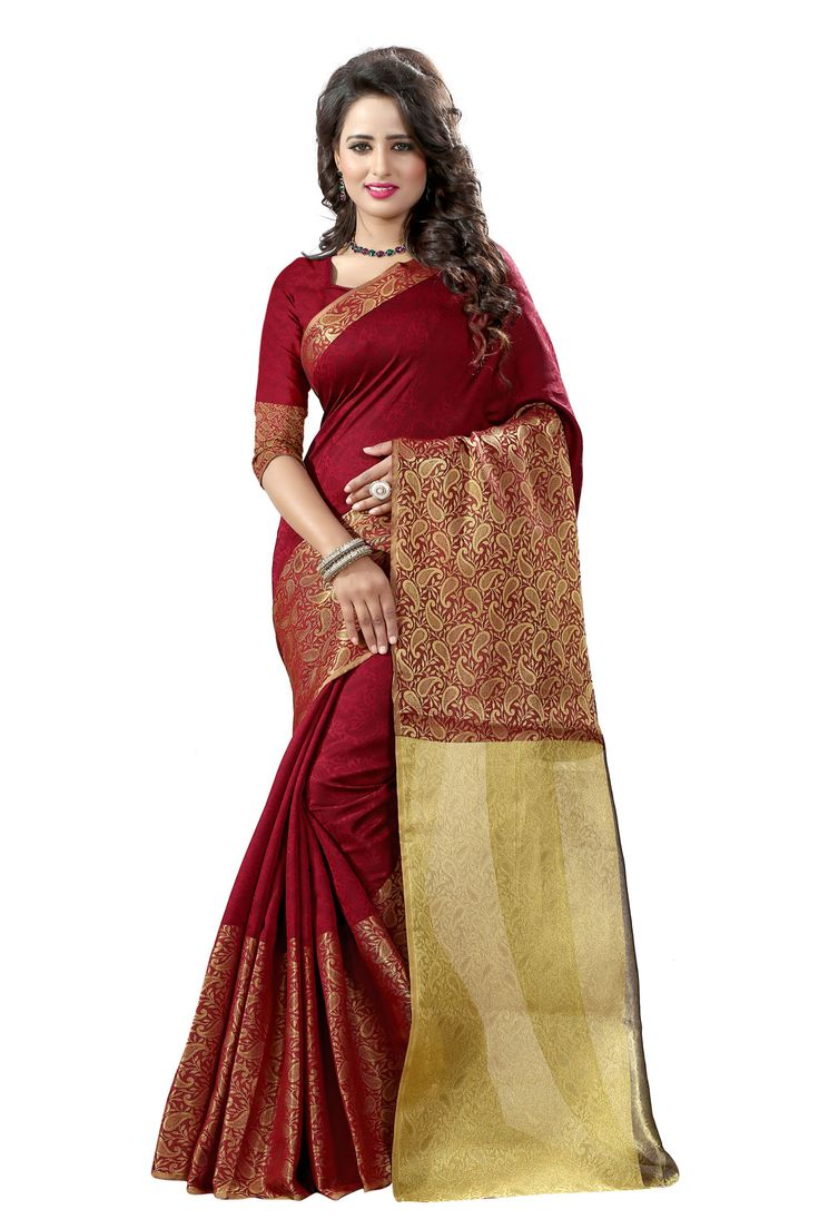 Shop Li Te Ra Traditional Maroon Cotton Silk Banarasi Saree by Style By India online. Largest collection of Latest Sarees online. ✻ 100% Genuine Products ✻ Easy Returns ✻ Timely Delivery