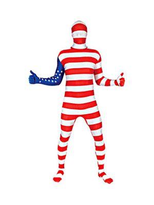 Originele morphsuit met een print van de Amerikaanse vlag. Deze morphsuit komt uit de vlaggen morphsuits lijn. De morphsuits zijn gemaakt van stretch lycra, waardoor het zich naadloos aanpast aan ieder figuur. U kunt door het pak heen kijken, ademen en drinken! De morphsuits hebben op de achterkant een ritssluiting. Carnavalskleding 2015 #carnaval