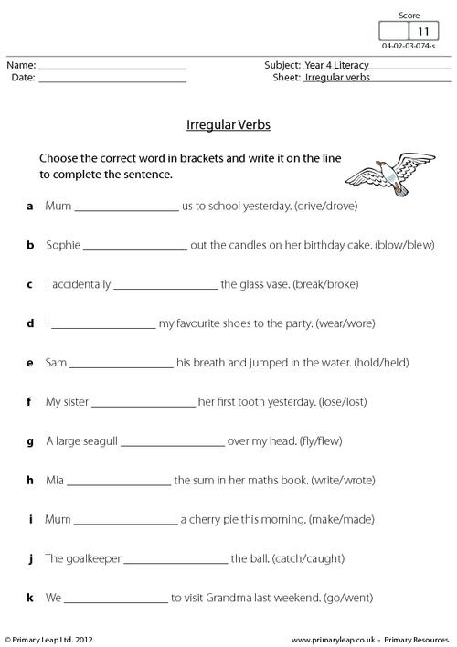 Irregular Verbs Practice Choose The Correct Word In